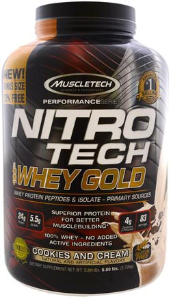 Nitro Tech 100% Whey Gold, Cookies and Cream, 5.53 lbs (2.51 kg) by Muscletech-Sporter