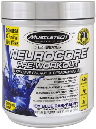 Pro Series, Nuerocore Pre-Workout, Icy Blue Raspberry, 8.99 oz (255 g) by Muscletech-Hälsa, Energi, Sport
