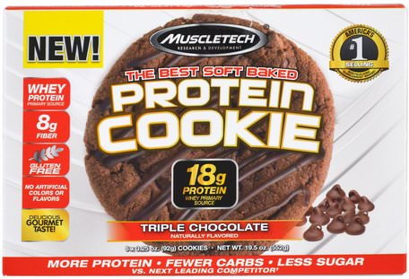 The Best Soft Baked Protein Cookie, Triple Chocolate, 6 Cookies, 3.25 oz (92 g) Each by Muscletech-Sporter