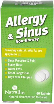 Allergy & Sinus, Non-Drowsy, 60 Tablets by NatraBio-Kosttillskott, Homeopati, Allergier, Allergi