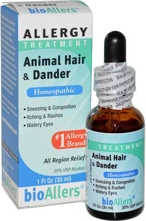 bioAllers, Allergy Treatment, Animal Hair & Dander, 1 fl oz (30 ml) by NatraBio-Kosttillskott, Homeopati, Allergier, Allergi