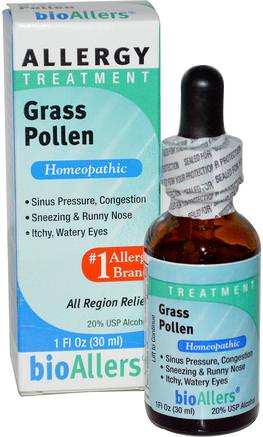 bioAllers, Allergy Treatment, Grass Pollen, 1 fl oz (30 ml) by NatraBio-Kosttillskott, Homeopati, Allergier, Allergi