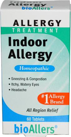 BioAllers, Allergy Treatment, Indoor Allergy, 60 Tablets by NatraBio-Hälsa, Allergier, Allergi