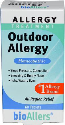 BioAllers, Allergy Treatment, Outdoor Allergy, 60 Tablets by NatraBio-Kosttillskott, Homeopati, Allergier, Allergi