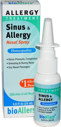 BioAllers, Sinus & Allergy Nasal Spray, Allergy Treatment, 0.8 fl oz (24 ml) by NatraBio-Kosttillskott, Homeopati, Allergier, Allergi