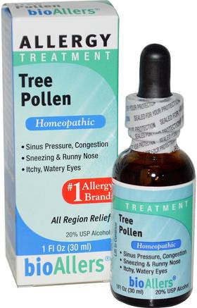 BioAllers, Tree Pollen, Allergy Treatment, 1 fl oz (30 ml) by NatraBio-Kosttillskott, Homeopati, Allergier, Allergi