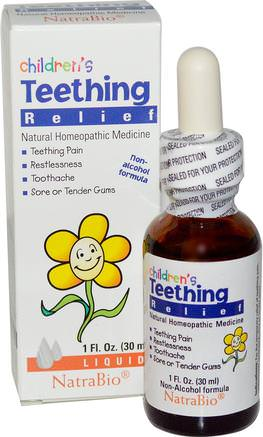 Childrens Teething Relief, Non-Alcohol Formula, Liquid, 1 fl oz (30 ml) by NatraBio-Barns Hälsa, Barnsjukdomar
