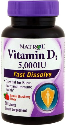 Vitamin D3, Fast Dissolve, Natural Strawberry Flavor, 5.000 IU, 90 Tablets by Natrol-Vitaminer, Vitamin D3