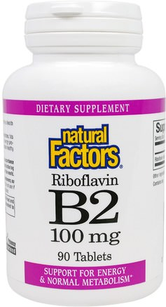 B2 Riboflavin, 100 mg, 90 Tablets by Natural Factors-Vitaminer, Vitamin B, Vitamin B2 - Riboflavin
