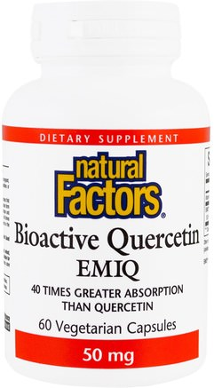 Biaoctive Quercetin EMIQ, 50 mg, 60 Veggie Caps by Natural Factors-Hälsa, Allergier, Allergi
