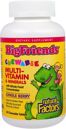 Big Friends, Chewable Multi-Vitamin & Minerals, Jungle Berry, 60 Chewable Tablets by Natural Factors-Vitaminer, Multivitaminer, Barn Multivitaminer, Kosttillskott, Mineraler