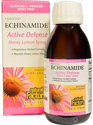 Echinamide Active Defense, Honey Lemon Syrup, 5 fl oz (150 ml) by Natural Factors-Kosttillskott, Antibiotika, Echinacea Vätskor