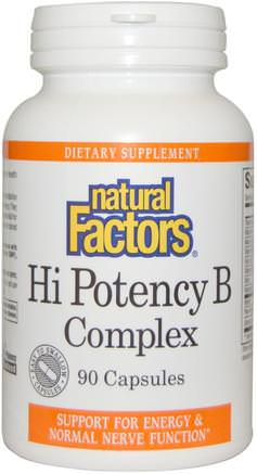 Hi Potency B Complex, 90 Capsules by Natural Factors-Vitaminer, Vitamin B, Vitamin B-Komplex