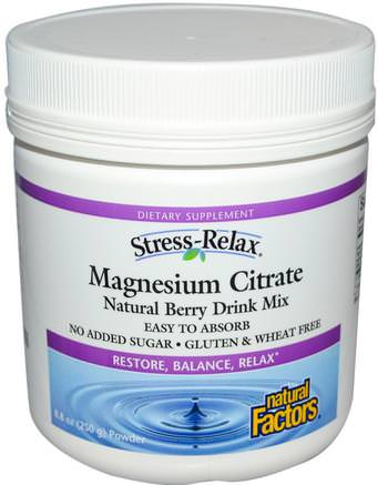 Stress-Relax, Magnesium Citrate, Natural Berry Drink Mix, 8.8 oz (250 g) Powder by Natural Factors-Kosttillskott, Mineraler, Magnesiumcitrat, Hälsa, Anti Stress
