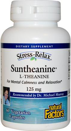 Stress-Relax, Suntheanine, L-Theanine, 125 mg, 60 Vegetarian Capsules by Natural Factors-Kosttillskott, L Teanin, Hälsa, Ångest