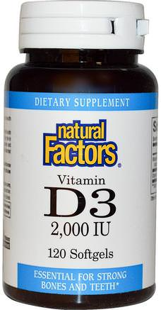 Vitamin D3, 2000 IU, 120 Softgels by Natural Factors-Vitaminer, Vitamin D3