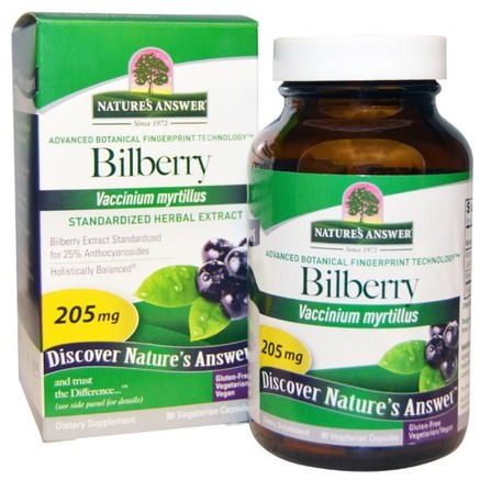 Bilberry, Standardized Herbal Extract, 205 mg, 90 Vegetarian Capsules by Natures Answer-Hälsa, Ögonvård, Synvård, Blåbär, Blåmärken, Kontusioner