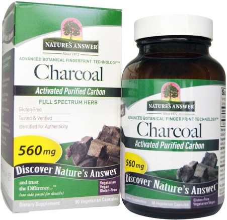 Charcoal, Activated Purified Carbon, 560 mg, 90 Vegetarian Capsules by Natures Answer-Kosttillskott, Mineraler, Aktivt Kol