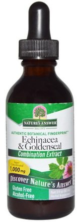 Echinacea & Goldenseal, Alcohol-Free, 1.000 mg, 2 fl oz (60 ml) by Natures Answer-Kosttillskott, Antibiotika, Echinacea Och Goldenseal