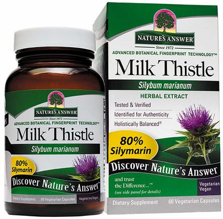 Milk Thistle, Seed Standardized Extract, 60 Vegetarian Capsules by Natures Answer-Hälsa, Detox, Mjölktistel (Silymarin), Missbruk, Missbruk