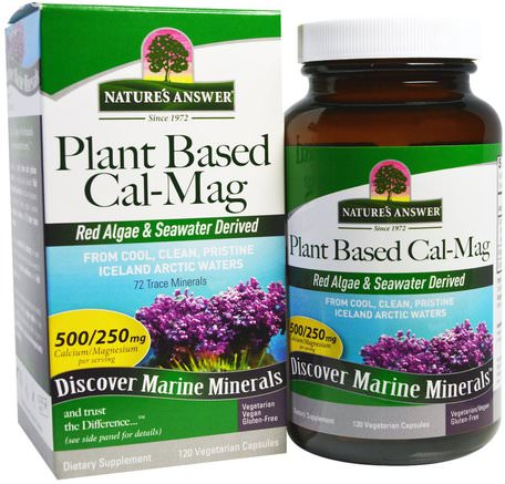 Plant Based Cal-Mag, 500/250 mg, 120 Vegetarian Capsules by Natures Answer-Kosttillskott, Mineraler, Kalcium Och Magnesium