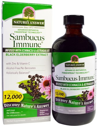 Sambucus Immune, Infused with Echinacea & Astragalus, 12.000 mg, 8 fl oz (240 ml) by Natures Answer-Kosttillskott, Antibiotika, Echinacea, Hälsa, Immunsystem