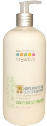 Conditioner & Detangler, Coconut Pineapple, 16 oz (473.2 ml) by Natures Baby Organics-Bad, Skönhet, Balsam, Barnbad