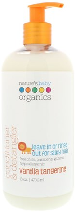 Conditioner & Detangler, Vanilla Tangerine, 16 fl oz (473.2 ml) by Natures Baby Organics-Bad, Skönhet, Balsam, Barnbad