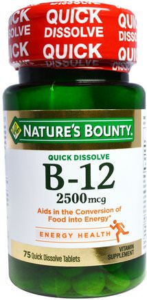 B-12, 2500 mcg, 75 Quick Dissolve Tablets by Natures Bounty-Vitaminer, Vitamin B, Vitamin B12