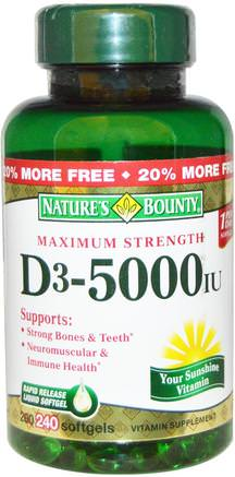 D3, Maximum Strength, 5000 IU, 240 Rapid Release Softgels by Natures Bounty-Vitaminer, Vitamin D3