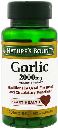 Garlic, Heart Health, 2.000 mg, 120 Coated Tablets by Natures Bounty-Kosttillskott, Antibiotika, Vitlök