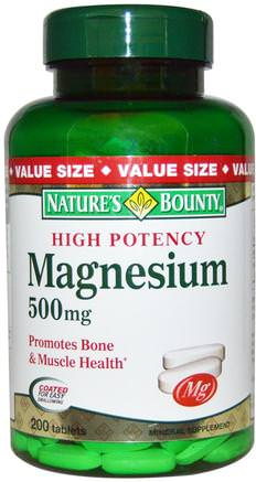Magnesium, High Potency, 500 mg, 200 Coated Tablets by Natures Bounty-Kosttillskott, Mineraler, Magnesiumoxid