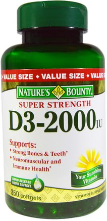 D3, Super Strength, 2000 IU, 350 Rapid Release Softgels by Natures Bounty-Vitaminer, Vitamin D3