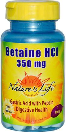 Betaine HCL, 350 mg, 100 Tablets by Natures Life-Kosttillskott, Betainhcl, Matsmältning, Mage