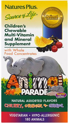 Animal Parade, Childrens Chewable Multi-Vitamin & Mineral, Assorted Flavors, 180 Animals by Natures Plus-Vitaminer, Barn Multivitaminer