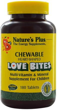 Love Bites Multi-Vitamin & Mineral, Supplement For Children, 180 Chewable Tablets by Natures Plus-Vitaminer, Multivitaminer, Barn Multivitaminer