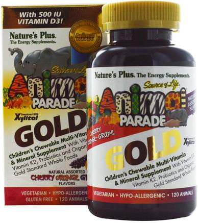 Source of Life Animal Parade Gold, Childrens Chewable Multi-Vitamin & Mineral Supplement, Natural Assorted Flavors, 120 Animals by Natures Plus-Vitaminer, Multivitaminer, Barn Multivitaminer