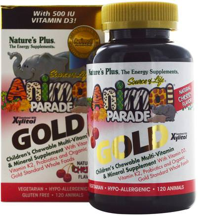 Source of Life Animal Parade Gold, Childrens Chewable Multi-Vitamin & Mineral Supplement, Natural Cherry Flavor, 120 Animals by Natures Plus-Vitaminer, Multivitaminer, Barn Multivitaminer