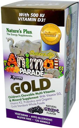 Source of Life Animal Parade, Gold, Childrens Chewable Multi-Vitamin & Mineral Supplement, Natural Grape Flavor, 120 Animals by Natures Plus-Vitaminer, Multivitaminer, Barn Multivitaminer