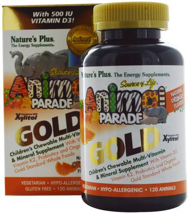Source of Life, Animal Parade Gold, Childrens Chewable Multi-Vitamin & Mineral Supplement, Natural Orange Flavor, 120 Animals by Natures Plus-Vitaminer, Multivitaminer, Barn Multivitaminer