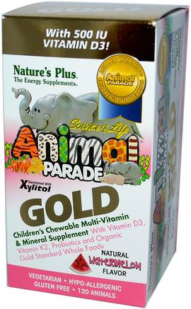 Source of Life, Animal Parade Gold, Childrens Chewable Multi-Vitamin & Mineral, Watermelon, 120 Animals by Natures Plus-Vitaminer, Multivitaminer, Barn Multivitaminer