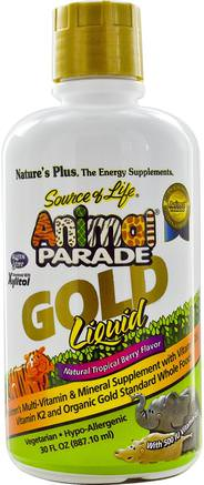Source of Life, Animal Parade, Gold Liquid, Natural Tropical Berry Flavor, 30 fl oz (887.10 ml) by Natures Plus-Vitaminer, Multivitaminer, Barn Multivitaminer, Flytande Multivitaminer