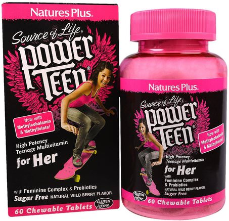 Source of Life, Power Teen, For Her, Natural Wild Berry Flavor, 60 Chewable Tablets by Natures Plus-Vitaminer, Multivitaminer, Barn Multivitaminer