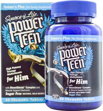 Source of Life, Power Teen, For Him, Sugar Free, Natural Wild Berry Flavor, 60 Chewable Tablets by Natures Plus-Vitaminer, Multivitaminer, Barn Multivitaminer, Hälsa, Män