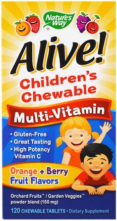 Alive! Childrens Chewable Multi-Vitamin, Orange, Berry Fruit Flavors, 120 Chewable Tablets by Natures Way-Vitaminer, Barn Multivitaminer