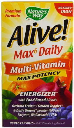 Alive! Max6 Dailiy, Multi-Vitamin, Max Potency, 90 Veggie Caps by Natures Way-Vitaminer, Multivitaminer
