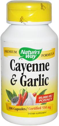 Cayenne & Garlic, 530 mg, 100 Capsules by Natures Way-Kosttillskott, Antibiotika