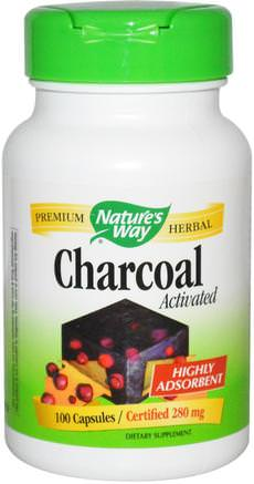Charcoal, Activated, 280 mg, 100 Capsules by Natures Way-Kosttillskott, Mineraler, Aktivt Kol
