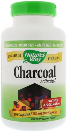 Charcoal, Activated, 280 mg, 360 Capsules by Natures Way-Kosttillskott, Mineraler, Aktivt Kol