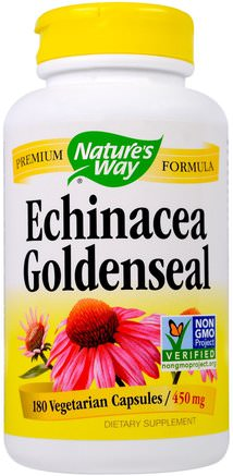 Echinacea Goldenseal, 450 mg, 180 Veggie Caps by Natures Way-Kosttillskott, Antibiotika